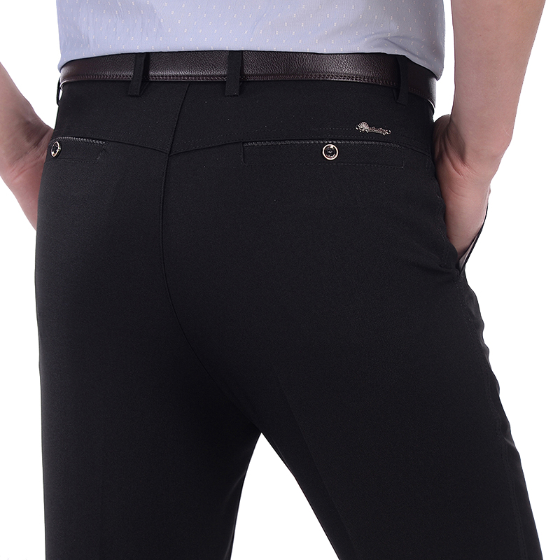 Toko Guhuailong Celana Pinggang Tinggi Formal Kasual Pria Bahan Polyester Musim Panas Bagian Tipis Hitam Murni Setelah Saku Tombol Model Terlengkap
